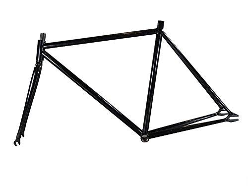 Fixed Gear Fahrrad 39,4-54,6cm Stahl Rahmen mit Gabel 1Speed Track Fixie Bike,, schwarz, 19 -
