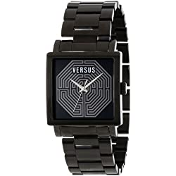 Versus by Versace Damen AL12SBQ509A110 Dazzle Black Ion-Plated Coated Stainless Steel Square Uhr