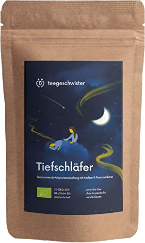 BIO Entspannungs-Tee | natürlicher Kräuter-Tee vor dem Einschlafen und Entspannen | Abend-Tee mit Baldrian Fenchel und Melisse | ohne Zusatzstoffe | teegeschwister | 85g.