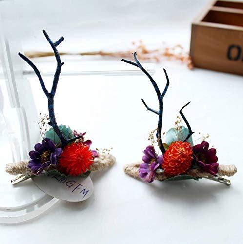 chten Frauen Girs Weihnachten Hirschgeweih Kostüm Kopf Kleid Festival Blume Ohr Party Haarspange Kopfband Haarband Headwear Geschenk ()