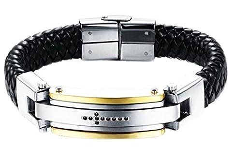 Epinki Men's Stainless Steel Leather Perfect Cut Jewelry Bangle Bracelet Dots Cross Weave,Black