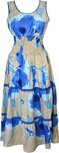 Flirty Wardrobe Robe d'été sans Manches-Imprimé Taille élastique - Blue Peach