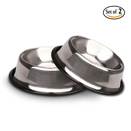 Miaosun Pet Bowls for Cats Non Skid with Natural Rubber Base, Variety of Colors Food Grade Stainless Steel Dog Food And Water Bowls for Travel, Pack of 2 (Sliver*2)