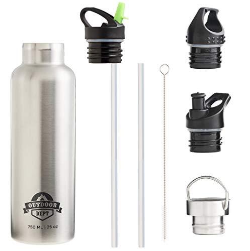OUTDOOR DEPT Isolierte Edelstahl Trinkflasche 750 ML 4 Deckel BPA frei für Kohlensäure