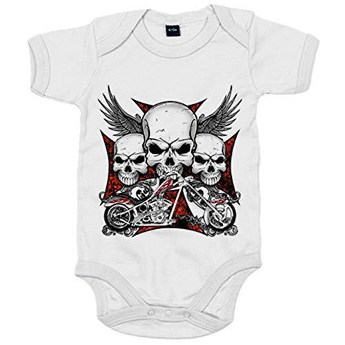 Body bebé para moteros cañeros - Blanco, 12-18 meses