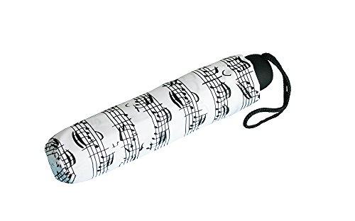 Vienna 7R90N - Paraguas plegable con pentagramas y notas en blanco y...