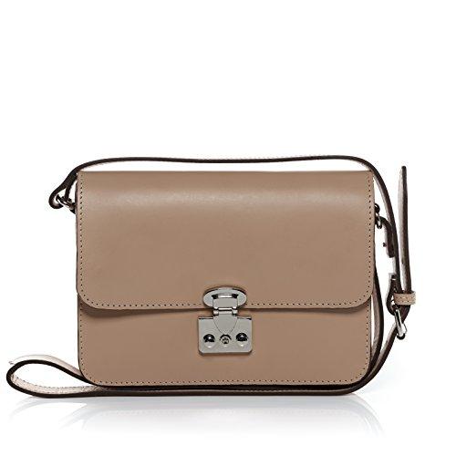 Scotch & Vain sac bandoulière femme HOLLY - petit - sac en cuir avec bretelle - sacoche beige en cuir véritable beige