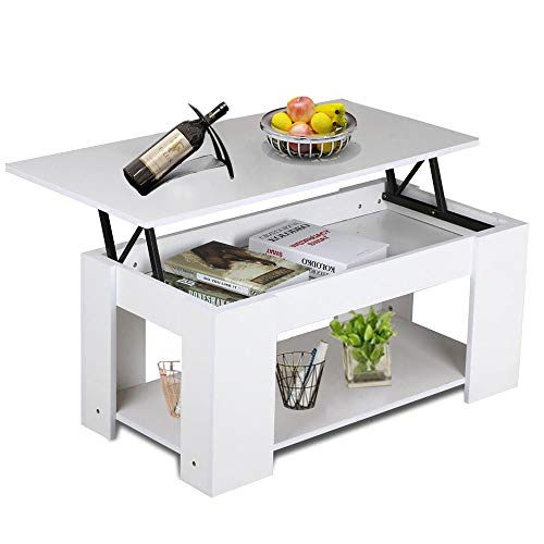 Dripex Lift Up Top Coffee Table Tea Desk Hidden Storage Bottom Shelf for Office Living Room