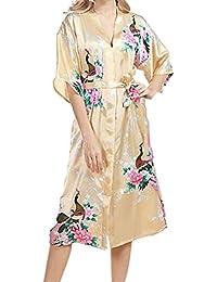 a1b1dabe70 Haodasi Women Plus Size Sleepwear Silk Kimono Robes Peacock Printing Short  Sleeve Nightdress Kimono Satin Nightwear Long Style…