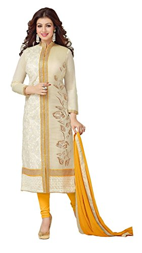 Vastrang Womens Latest Cotton Cream Embroidered Unstitched Churidar Suit