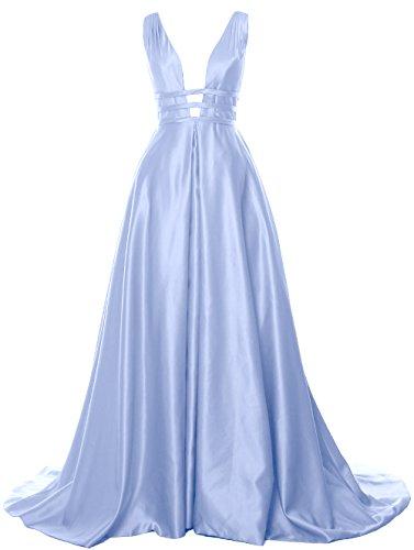 MACloth Deep V Neck Maxi Prom Ball Gown Open Back Satin Formal Evening Dress Himmelblau