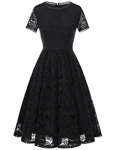 Dresstells Damen Midi Elegant Hochzeit Spitzenkleid Kurzarm Rockabilly Kleid Cocktail Festliche Kleider Black 2XL