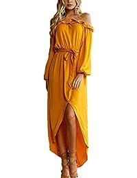 f1882cd9f Mujeres Irregular Vestido con Vendaje Moda Cuello Barco Manga Larga  Vestidos de Partido Cóctel Fiesta Largo