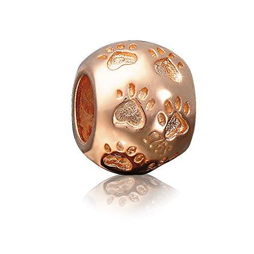 ANDANTE-Stones - Premium Collection - Rose Gold Bead Charm Pfoten 925 Sterling Silber Pfote Tierpfote Element Kugel für European Beads Modul Armband + Organzasäckchen (Beads Gold Charm)
