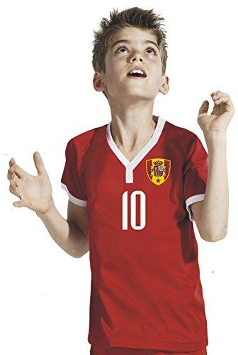 Maglia della spagna, include pantaloncini e calzettoni da calcio, per bambino, personalizzabile stampa del nome desiderato + n. rbb mondiali 2018, rot, 116