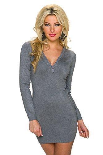 997208fc122 Moewy Damen Strickkleid Minikleid Kleid Pullikleid mit Reißverschluss und  Strass Steinen
