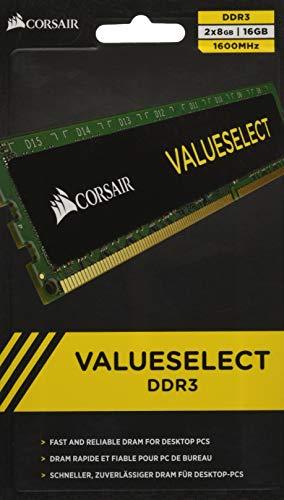 Corsair Value Select - Módulo de Memoria Principal de 16 GB (2 x 8 GB, DDR3, 1600 MHz, CL11) (CMV16GX3M2A1600C11)