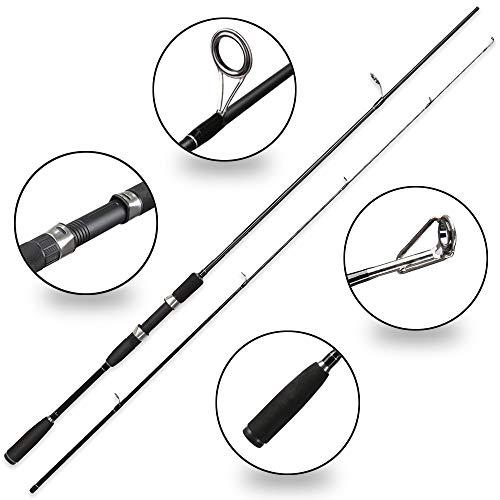 LMEI-QUN, 50-300g Test Schnelle Aktion 2.1m Spinnrute für leichte Jigging Forellenruten Mit Solider Spitze 2 Abschnitte Carbonstange (Color : Black, Size : 2.1 m)