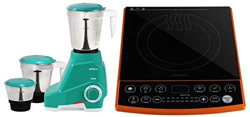 Havells Genie 500-Watt Juicer Mixer Grinder (Green) + Havells Insta Cook ET-X Induction Cooktop