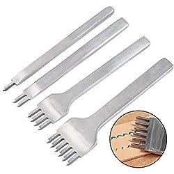 WOWOSS 4Pcs Tenedores para Coser Cuero DIY Perforadoras Herramientas Artesanales Costura Juego de Perforadores de Cuero (4mm)