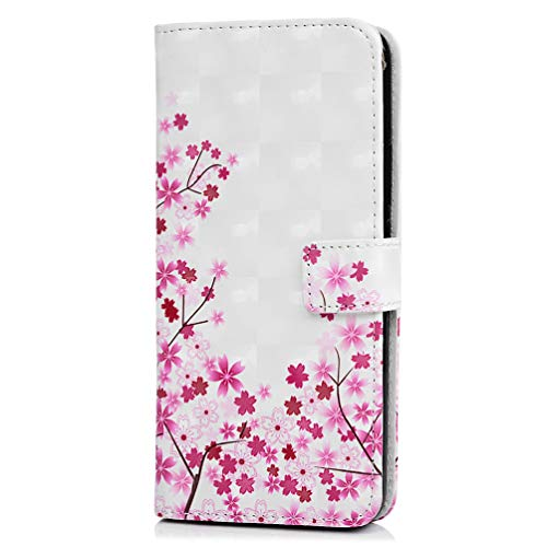 Huawei Mate 20 Pro Hülle Flip 3D Premium PU Leder stoßfest Wallet Cover mit Magnetverschluss Kartenhalter ID Slot Folio TPU Bumper Schutzhülle für Huawei Mate 20 Pro, pink floral, Huawei Mate 20 Pro Pink Folio