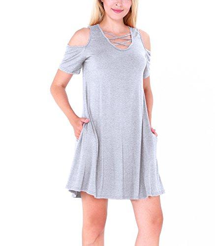 CoCo Fashion Damenhemdkleid mit Taschen Modischen Cut-Outs Baumwollkleid Lose Minikleid Hellgrau