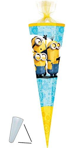 Schultüte -  Minions  - 70 cm - rund - Filzabschluß - Zuckertüte - mit / ohne Kunststoff Spitze - für Mädchen & Jungen - Minion - ich einfach unverbesserlic.. ()