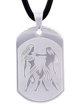 DonDon 50 cm Kautschuk Halskette mit Edelstahl Sternzeichen Zwillinge Anhänger in einem Samtbeutel