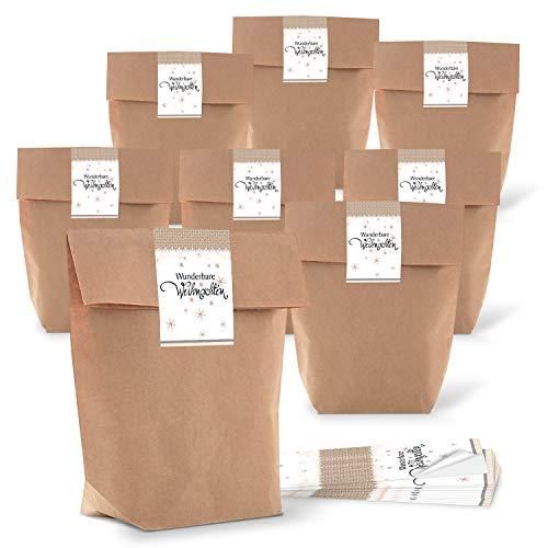 10 kleine Papiertüten braun natur 16,5 x 26 x 6,6 cm + 10 Aufkleber weihnachtlich WUNDERBARE WEIHNACHTEN STERNE beige weiß Geschenk-Verpackung Kraftpapier Befüllen Tüte bio Papier-Tütchen -