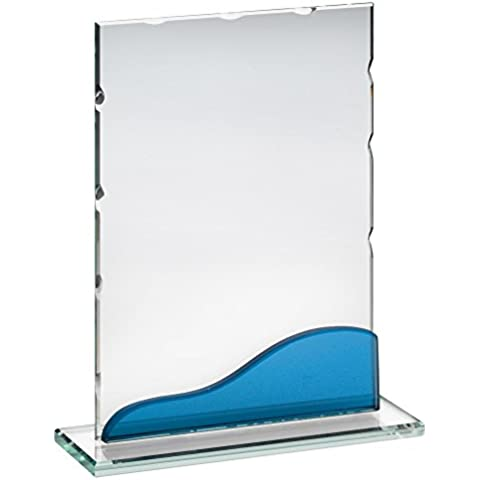 Placa de vidrio trofeo con destellos de color azul, 7.25