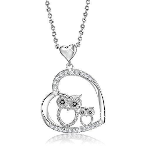 Collier et pendentif en argent sterling 925 - Hibou en cristal -Amoureux des oiseaux - 45,7cm