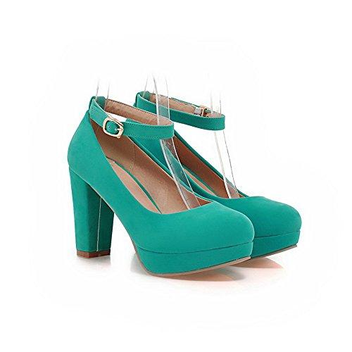 Balamasa Massive Pour Femme, Avec Boucle, Hauteur Du Talon. Escarpins Imités-chaussures Pour Homme En Cuir Suédé Vert