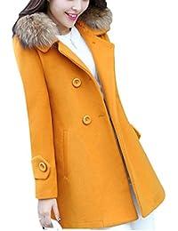 Femme Double breasted Chaud Manches Longues Manteau d'hiver Mélange de laine Veste Trench blouson à Capuche