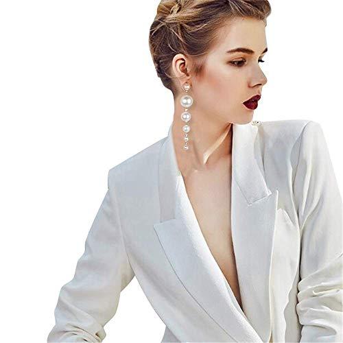Metme Damen Partei Lange Ohrringe Simulierte Perlen Flapper Schmuck Kostüm Zubehör Milchig Weiß