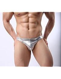 GL&G La ropa interior de los hombres jadea los pantalones de cuero de moda pantyhose de cuero Funny convexo de cintura baja T pantalones,Silver,M