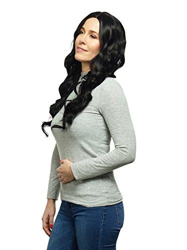 DEUBL Damen Perücke 'Vera' weibliche Perücke Schwarz lang gelockt aus Kanekalon Kunsthaar (wie Echthaar) mit geringem Eigengewicht, waschbar, atmungsaktiv, Kopfumfang verstellbar, inkl. Haarnetz