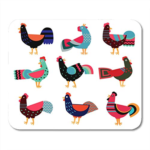 AOCCK Gaming Mauspads Roosters Symbol Chinese Calendar Silhouette Red Cock Decorated 11.8