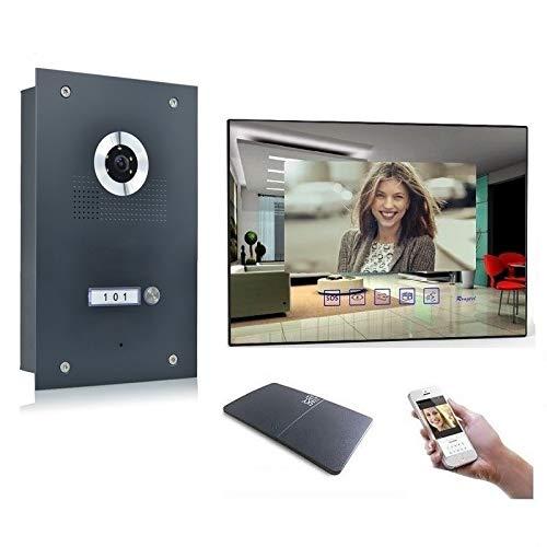 Video Türsprechanlage Gegensprechanlage mit 7\'\' Monitor Kamera 170° Anthrazit, Farbe: Mit, Größe: 1x7\'\' Monitor mit WLAN Schnittstelle
