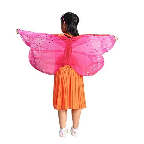 YWLINK Chiffon Klassisch Jungen MäDchen Karneval Bohemien Schmetterling Print Schal Cosplay ZubehöR Erwachsener Eltern Kind Weihnachten Halloween FlüGel Umhang Pashmina(118 * 48CM,B Heiß Rosa)