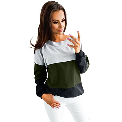 Camicetta Lace large Manica Lunga Camicia Pullover Tops Felpa verde Kobay Up Casual Donna WbeE2YHID9