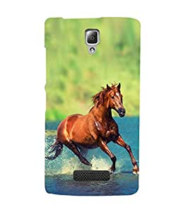 Fuson Designer Phone Back Case Cover Lenovo A2010 ( Horse Galloping In The Water )