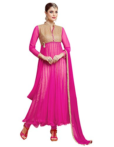 Varanga Exclusive Dark Pink Soft Net anarkali semi stitched Salwar Suits KFGRS1001