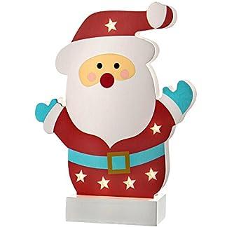 WeRChristmas–Decoración de Navidad Mesa de Papá Noel de Colores, Madera, 24cm