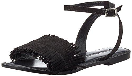 VERO MODA Damen Vmluca Leather Sandal Riemchensandalen Schwarz (Black)