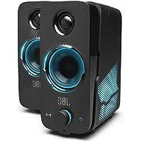 JBL Quantum DUO Altavoz para gamers con tecnología Dolby Digital para una profundidad de sonido y luces LED con efectos de iluminación, diseño llamativo, color negro