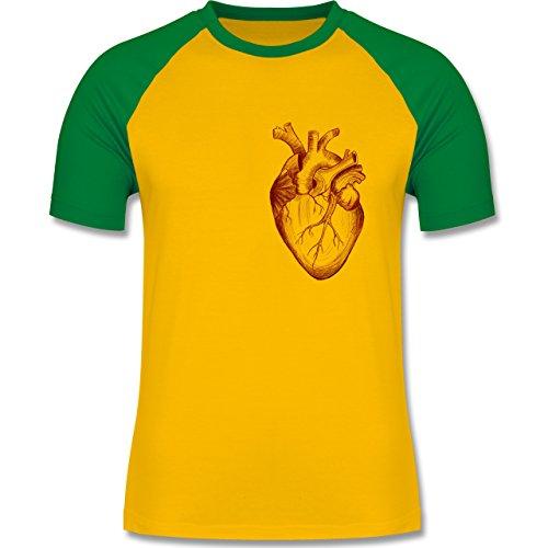 Nerds & Geeks - Herz Anatomie - zweifarbiges Baseballshirt für Männer Gelb/Grün