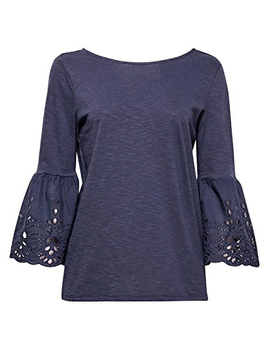 ESPRIT Women's Navy Slub T-Shirt with Flared Sleeves