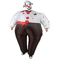 TOPmountain Adultos Inflable Malvado Payaso Halloween Outfit 1 Set Traje de Traje Inflable para la Fiesta