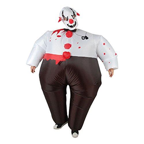 TOPmountain Erwachsene aufblasbare bösen Clown Halloween Outfit 1 Satz Kostüm aufblasbarer Anzug für Party