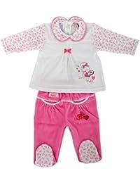 RAIKOU Mädchen Baby Schlafanzug (Zweiteiler) 2TLG. aus Nicki mit Süßer Stickerei